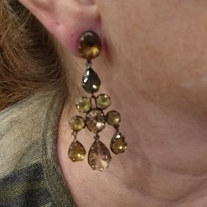 Copper and gold chandelier earrings
